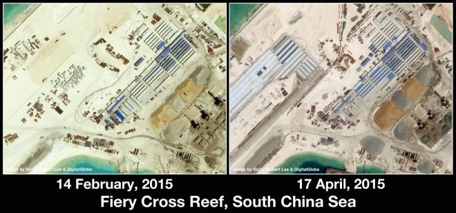 Cận cảnh đảo nhân tạo trên Bãi Chữ Thập. Nguồn: Victor Robert Lee và Digital Globe
