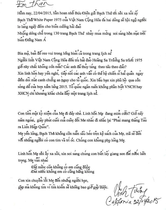 Lá thư của nhà nghiên cứu Trần Thị Vĩnh Tường gửi kèm với cuốn bạch thư cho một thành viên BBT dự án.