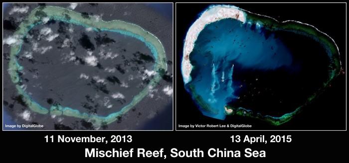 Ảnh: Trung Quốc biến bãi chìm Vành Khăn thành đảo nổi nhân tạo. Nguồn: Victor Robert Lee và DigitalGlobe.