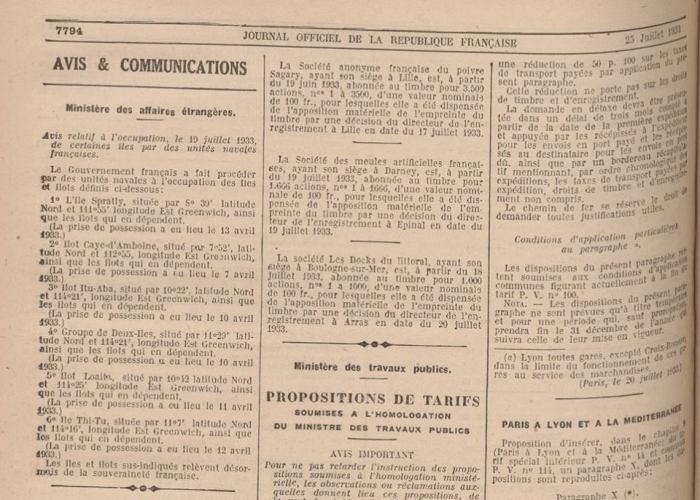 Pháp tuyên bố sáp nhập 7 cụm đảo thuộc quần đảo Trường Sa trên Journal Officiel de la République Française 25/7/1933 (Nguồn ảnh từ tác giả)