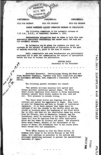 Một bản chụp tuyên bố Cairo 1943 của Bộ Ngoại Giao Hoa Kỳ .